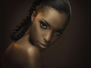 sexy black woman looking at camera