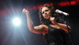 US singer Alicia Keys live in Paris.