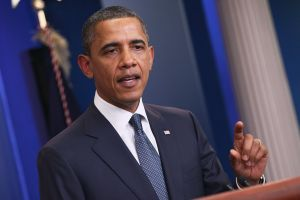 Obama Makes Statement At White House Daily Press Briefing