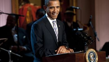 US President Barak Obama introduces musi
