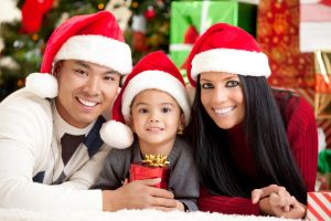 Young Multi Ethnic Family Holiday Portrait