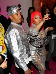 Nicki Minaj and Kenneth Petty arrive at Fendi Prints On at Fendi in Beverly Hills