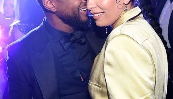 Usher and girlfriend Jennifer Goicoechea